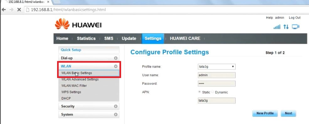 In Settings, go to WLAN Tab, and click on WLAN Basic Settings