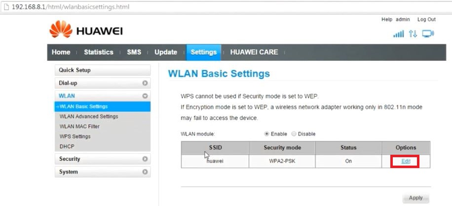 In WLAN Basic Settings window, click on Edit