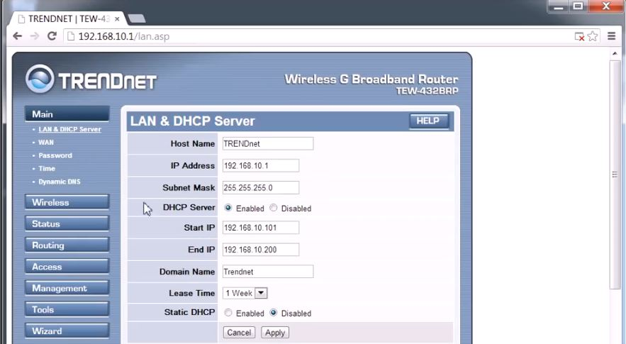TRENDnet – TEW432BAP LAN & DHCP Server for 192.168.10.1